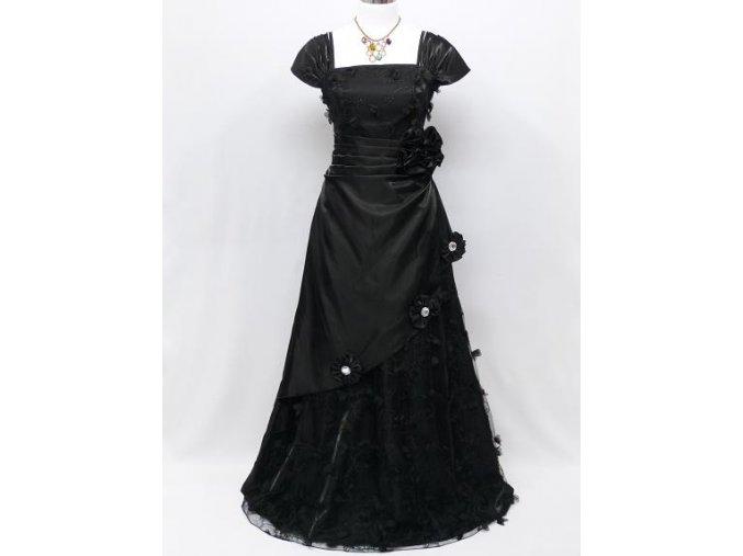 Černé dlouhé plesové šaty s rukávy zdobené na ples C3783a