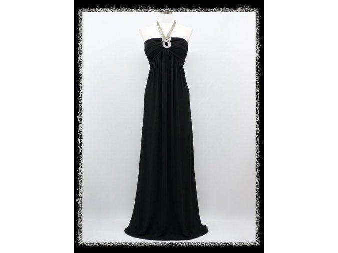 Černé dlouhé společenské šaty splývavé na ples s náhrdelníkem DR0825