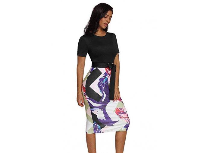 černé barevné krátké pouzdrové společenské šaty 2