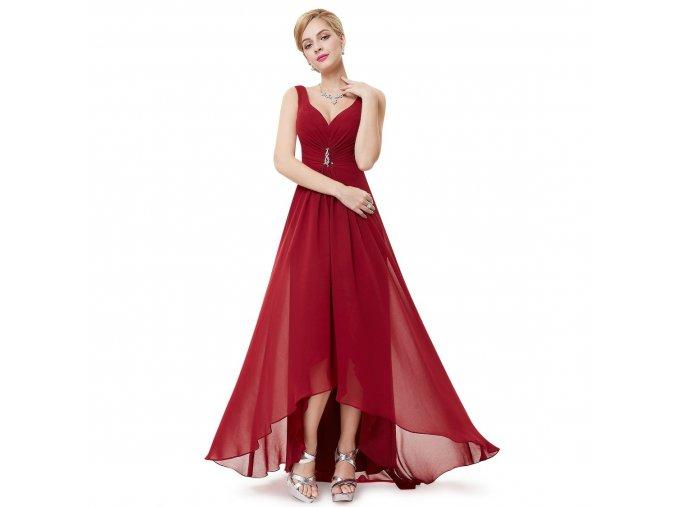 Červené dlouhé společenské šaty pro těhotné s vlečkou a broží