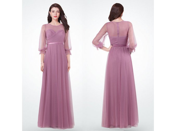 Lila levandulové starorůžové romantické dlouhé společenské šaty s rukávy 3