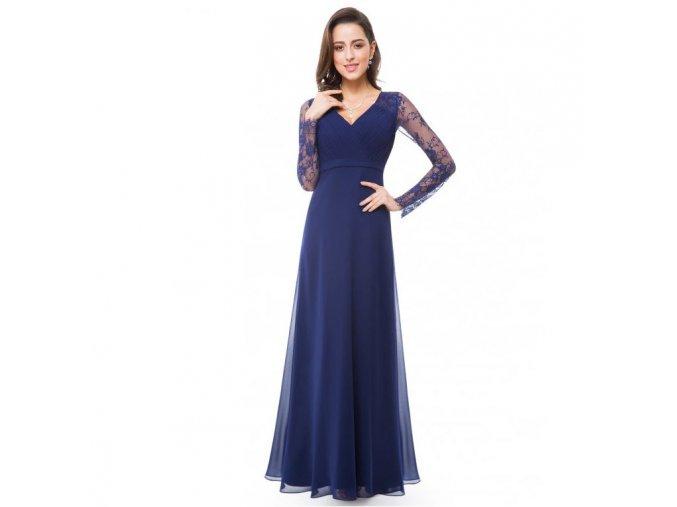 Modré dlouhé společenské šaty s krajkovým rukávem 1