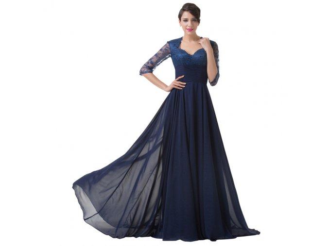 Modré luxusní společenské šaty s rukávy a krajkou na ples
