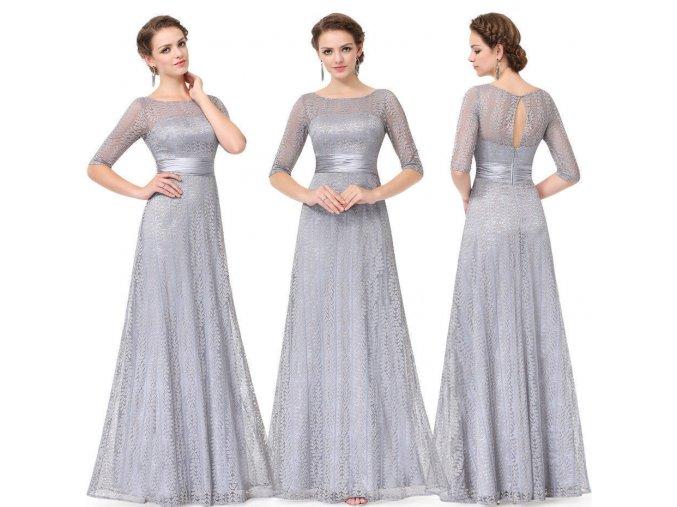 Šedé dlouhé společenské šaty krajkové
