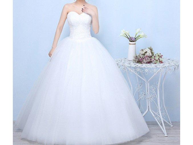 Bílé dlouhé luxusní svatební šaty bez ramínek jednoduché