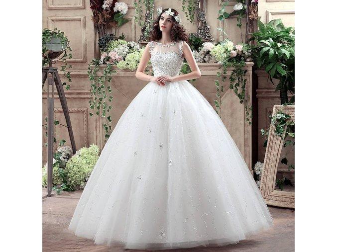 Bílé dlouhé luxusní bílé svatební šaty s kytičky