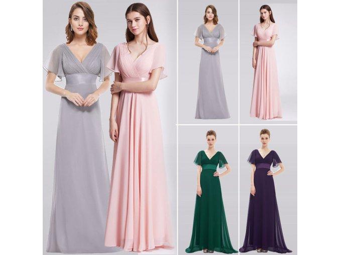 Růžové dlouhé společenské šaty s rukávky pro těhotné boubelky