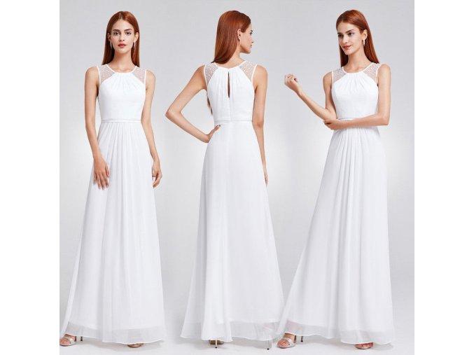 Bílé dlouhé společenské svatební šaty na širší ramínka s perličkami