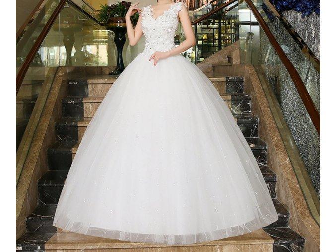 Bílé dlouhé luxusní svatební šaty s mašlí na široká ramínka pro plnoštíhlé nevěsty 8