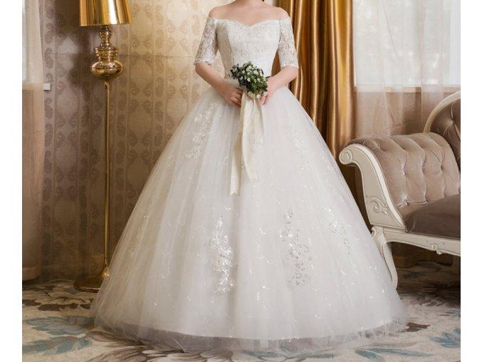 Bílé dlouhé luxusní svatební šaty krajkové s rukávy pro boubelky 1