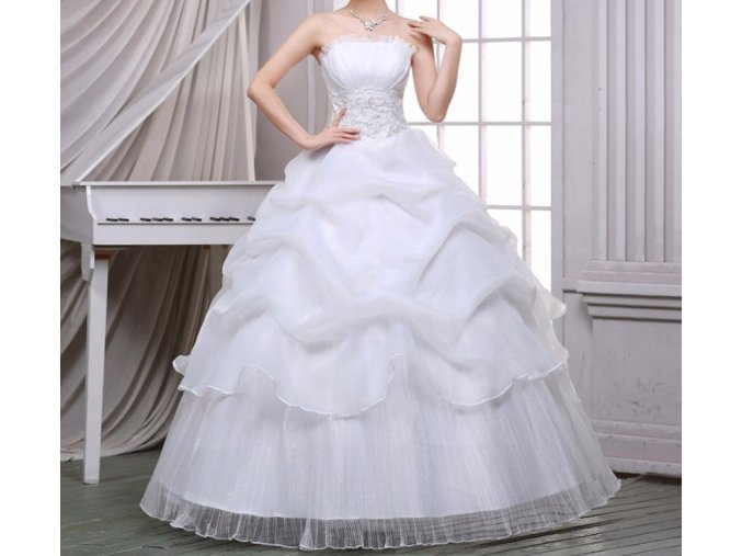 Bílé smetanové dlouhé luxusní společenské svatební šaty bez ramínek na svatbu