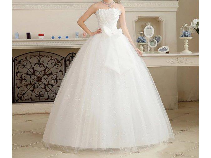 Bílé luxusní svatební šaty s mašlí na svatbu pro boublky plnoštíhlé nevěsty 2