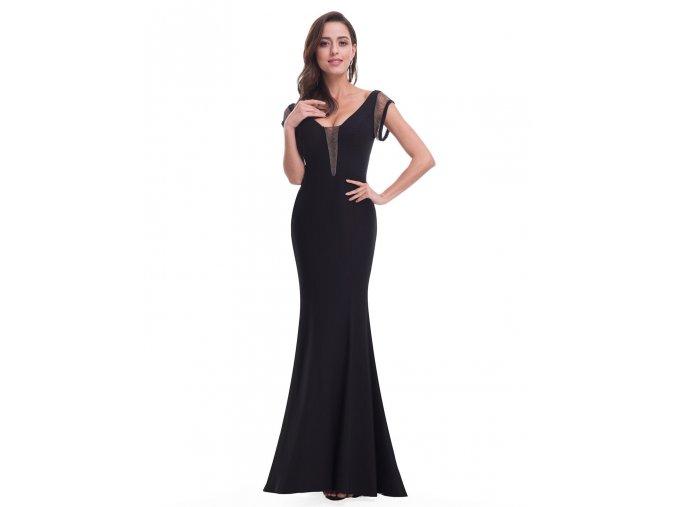 Černé sexy dlouhé společenské šaty s řetízky pouzdrové 5