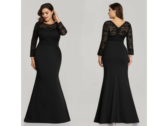 Černé dlouhé společenské šaty s krajkou pro plnoštíhlé s rukávy 1