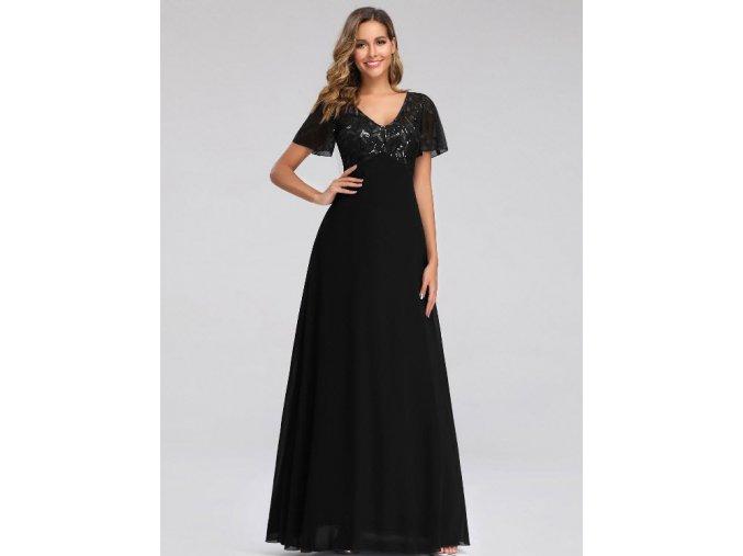 Černé dlouhé večerní společenské šaty s rukávkem a výšivkou pro plnoštíhlé boubelky 8