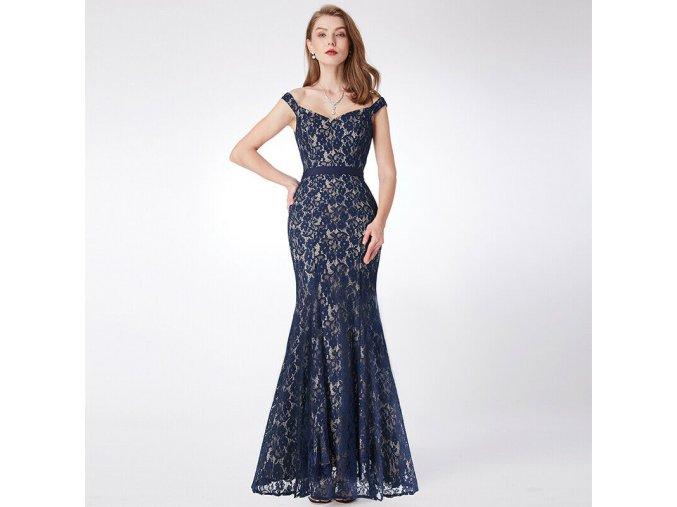 Modré krajkové dlouhé večerní společenské šaty alá mořská panna 1