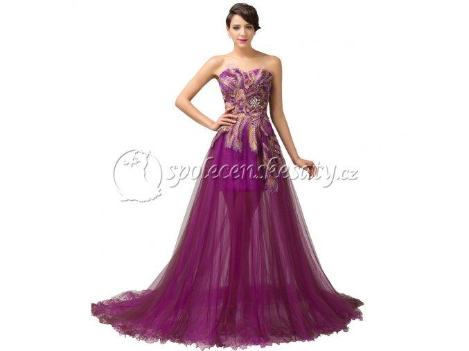 Fialové luxusní dlouhé paví společenské šaty L141
