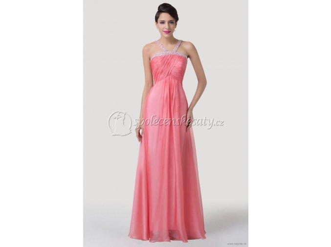 Růžové losospvé společenské šaty pro těhotné L163