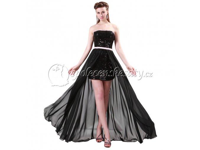 Černé luxusní společenské šaty mni s vlečkou s flitry L168 1