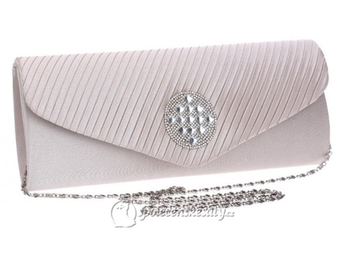 kabelka psanicko bezova kremova s kulatou strasovou ozdobou rasena klopa k42