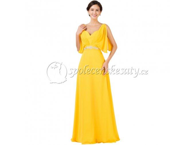 Žluté luxusní společenské šaty s volnými rukávky L174