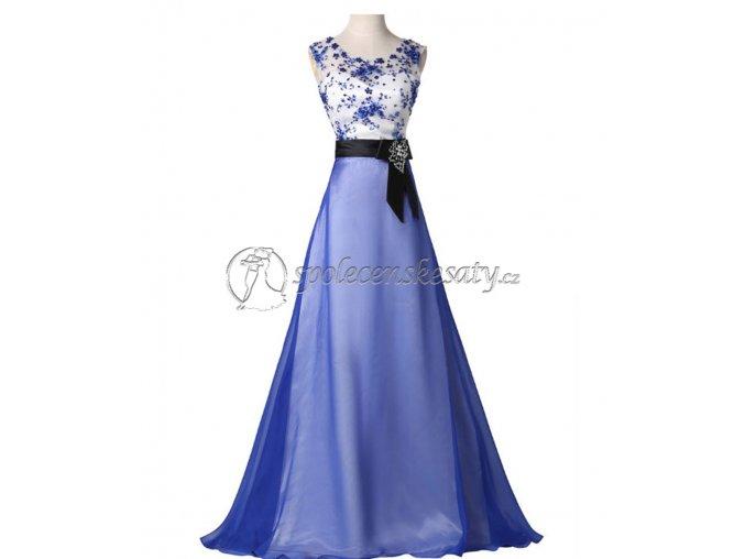 Modré bílé luxusní společenské šaty l179 0