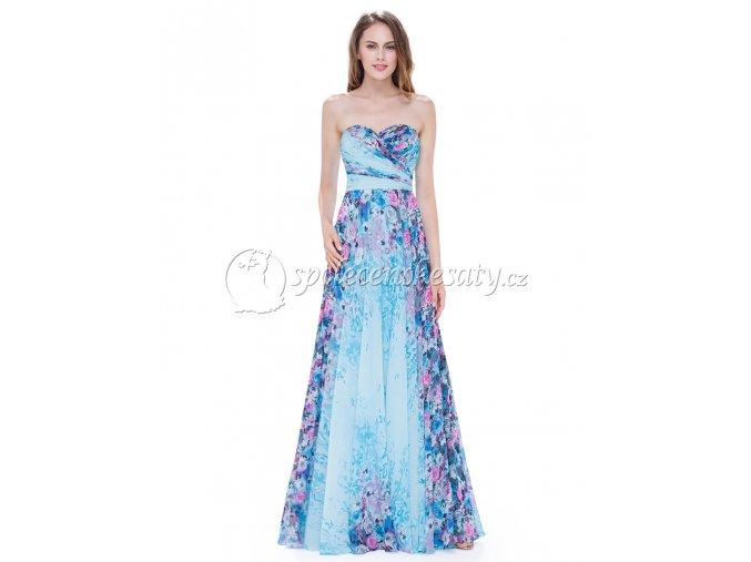 Modré květinové dlouhé luxusní šaty L183
