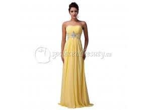 žluté luxusní dlouhé společenské šaty tehotenske s kamínky l184 4