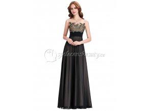 Černé dlouhé společenské šaty se zlatou krajkou L 195