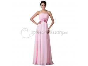 Růžové dlouhé společenské šaty pro těhotné s květinou L142