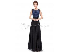 Černé modré společenské dlouhé šaty s modrou krajkou L197