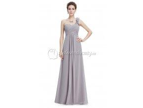 Šedé dlouhé luxusní společenské šaty na jedno rameno L200