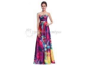 Barevné květované společenské šaty L202