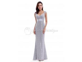 Šedé stříbrné dlouhé krajkové společenské šaty L204