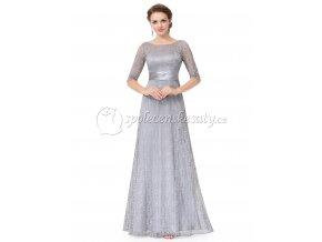 Šedé společenské šaty krajkové s rukávem L206