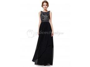 Černé společenské šaty s dvojitou asymetrickou sukní krajkovým topem L208