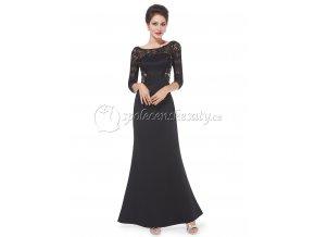 Černé dlouhé společenské šaty s rukávky krajkou L209