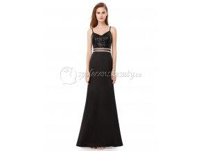 Černé dlohé společenské šaty s flitry a stříbrným páskem L210