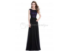 Černé fialové krajkové společenské šaty L214 1