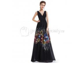 Černé květinové dlouhé společenské letní šaty L216