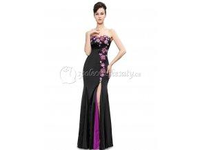 Černé dlouhé úplé šaty s rozperkem a květinovou krajkou L2017