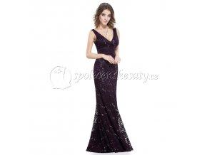Fialové dlouhé krajkové společenské šaty s flitry L218 4