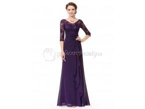Fialové dlouhé společenské šaty s krajkovým topem a rukávem L219