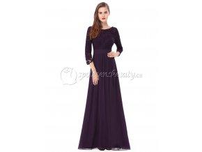 Fialové dlouhé společenské šaty s krajkovým topema rukávem L220