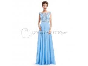 Modré světlé společenské šaty s perličkami L222
