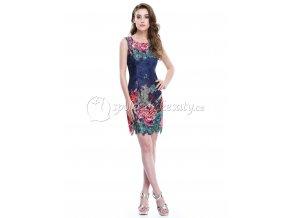 Modré barevné krátké společenské šaty krajkové vel. 36 38 S L226