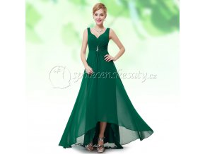 Zelené dlouhé společenské šaty v předu kratší L227 1