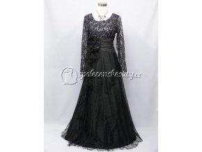 Černé dlouhé společenské šaty s rukávem 4147