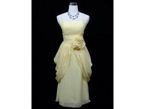 Krémové společenské šaty koktejlky s balonovou sukní