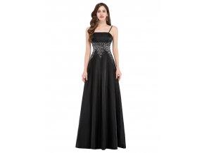 Černé společenské šat s tříbrnou krajkou